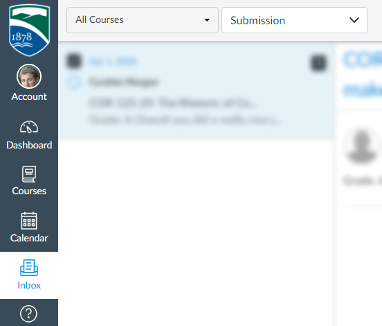 """A user's Inbox with """"Submission"""" selected from the drop-down"""