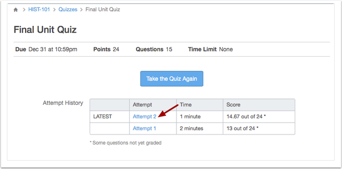 Screenshot of student view of their attempts for a quiz, showing two attempts with their duration and scores.