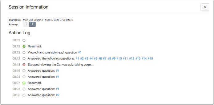 Screenshot of a quiz log showing when tasks were completed.