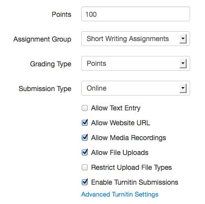 Canvas assignment settings