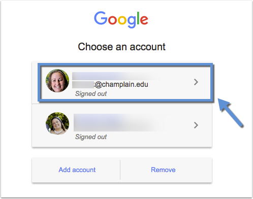 Account selection options for Google login with a Champlain account indicated by an arrow and box