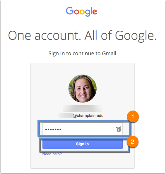 Google password prompt with steps (entering password and clicking sign in) highlighted