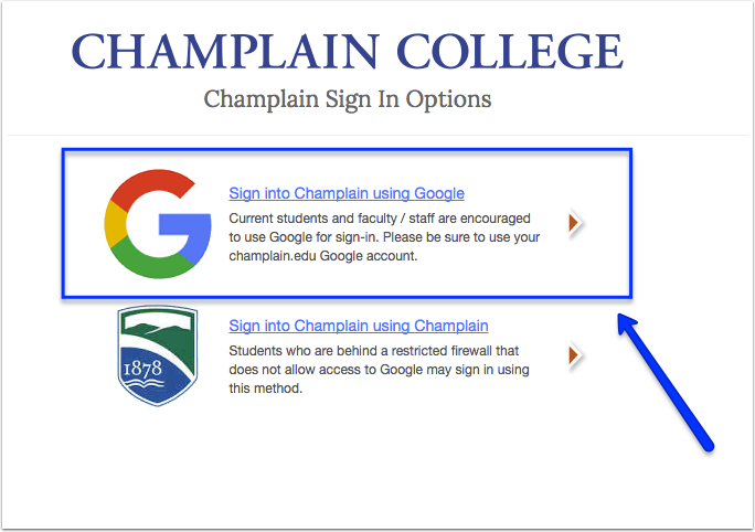 Prompt to log in to Champlain using Google