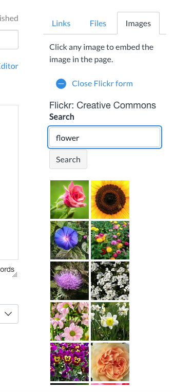 """Screenshot of the Flickr search menu with thumbnail images of results for searching """"flower"""""""