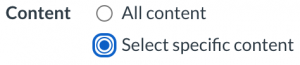 Specific Content Radio Button
