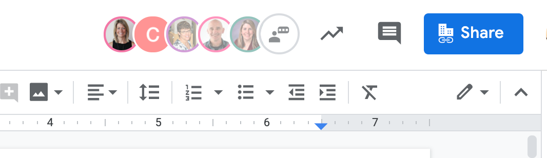 Screenshot of the sharing information in an active Google doc, showing five user avatars and the Share button.