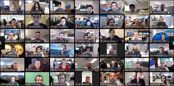 Screenshot of a Zoom call in Gallery View, with 42 participants arranged in a grid of small images.