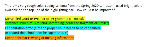 Sample of a color coded highlighting system, using yellow highlighting for spelling and grammar errors, green for sentence structure problems, blue for capitalization errors, and orange for citation errors.