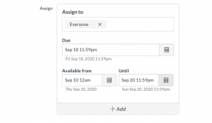 Screen capture showing the options for setting due, available, and until dates in Canvas