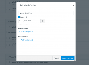 """Screen capture of the """"edit module"""" popup menu, with the Modules page behind it. The first item in the menu is a checkbox marked """"Lock Until"""", which is checked, followed by a date field and calendar selection button. The date is set to September 14, 2020. Other menu options allow the teacher to set prerequisites and requirements."""