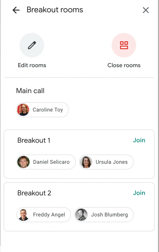"Screenshot of the breakout groups sidebar as seen by the host while breakout groups are in session. It features two round buttons, ""Edit Rooms"" and ""Close Rooms"", and a list of the rooms, including the main call, breakout 1, and breakout 2. Each room shows icons of all participants who are in that space, with the host in the main room and two participants each in the breakout rooms."