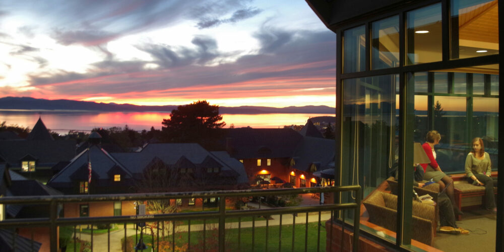 Sunset over Lake Champlain viewed from the Miller Information Commons